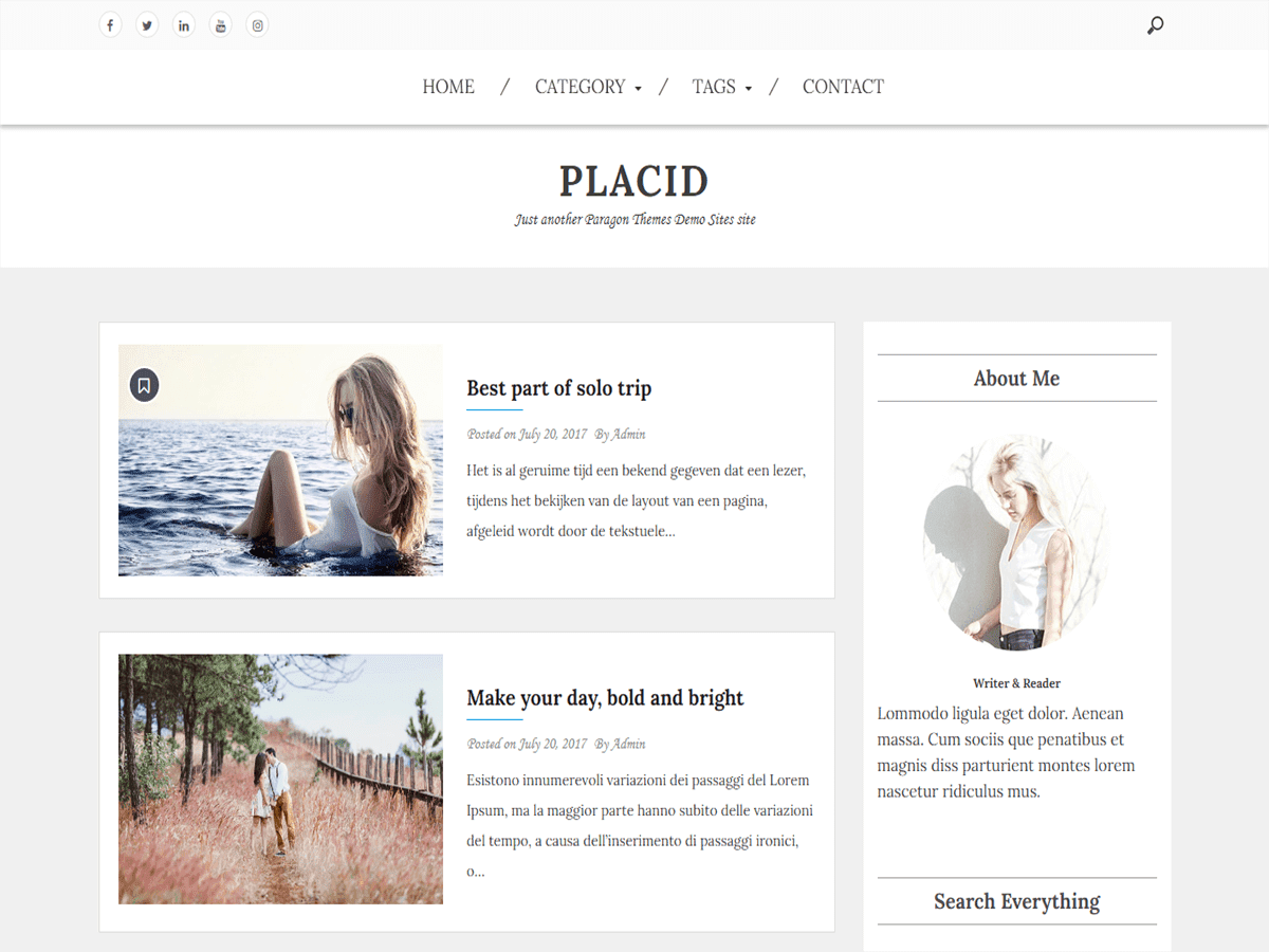 Placid - WordPress Themes for Blogs