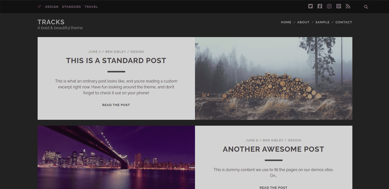 Tracks - WordPress Themes for Blogs