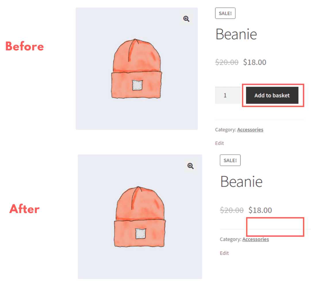 Hiding the Add to Cart button on the Product Page is also simple.