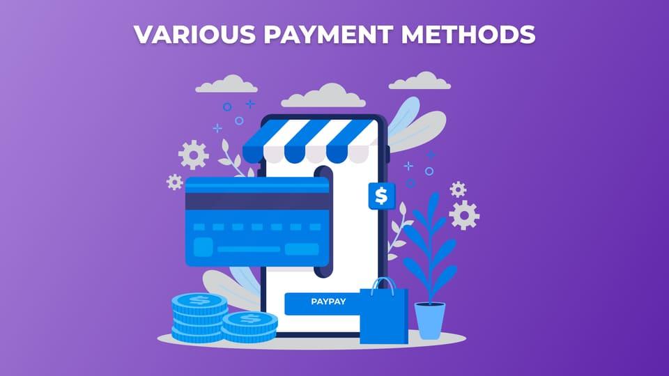 Various payment methods, e-commerce sales